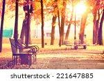 Garden Bench In Autumn Park...