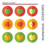 apples. flat vector icon set in ...   Shutterstock .eps vector #221651851