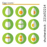 Eggs. Flat Vector Icon Set In...