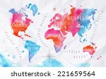 Watercolor World Map In Pink...