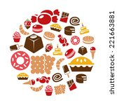 sweets icons in circle