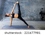woman practicing advanced yoga... | Shutterstock . vector #221677981