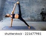 woman practicing advanced yoga... | Shutterstock . vector #221677981
