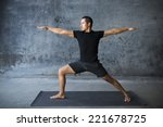 man practicing yoga against a... | Shutterstock . vector #221678725