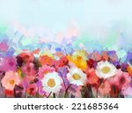 Oil Painting Flowers Daisy  ...