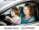 mother and child pretend... | Shutterstock . vector #221694685