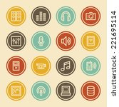 media web icons  color circle... | Shutterstock .eps vector #221695114