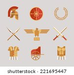 set of ancient warrior vector... | Shutterstock .eps vector #221695447
