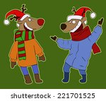 christmas card with reindeer in ... | Shutterstock .eps vector #221701525
