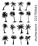 palm trees icons set   Shutterstock .eps vector #221703661