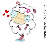 sheep lady love cute cartoon... | Shutterstock .eps vector #221719219