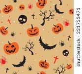 halloween seamless background... | Shutterstock .eps vector #221722471