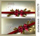 elegant christmas banner set.... | Shutterstock .eps vector #221732179