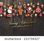 vintage christmas vector with... | Shutterstock .eps vector #221734327