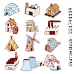 factory icons set. vector... | Shutterstock .eps vector #221741119