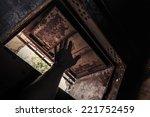 grunge dark interior with open... | Shutterstock . vector #221752459