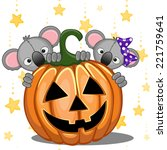 halloween illustration two... | Shutterstock .eps vector #221759641