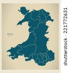modern map   wales with regions ... | Shutterstock .eps vector #221772631