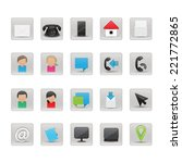 contact and business icons set  ...