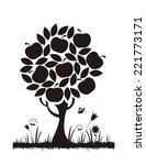 Apple Tree. Vector Silhouette.