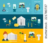 museum audio guide icons... | Shutterstock .eps vector #221780737
