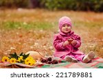 little girl on a picnic in the... | Shutterstock . vector #221789881