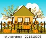 vector pumpkins and sunflowers... | Shutterstock .eps vector #221810305
