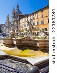Fountain on famous square Piazza Navona in Rome, Italy - stock photo