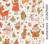 cartoon christmas seamless... | Shutterstock .eps vector #221829004