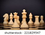 white chess king  queen and...   Shutterstock . vector #221829547