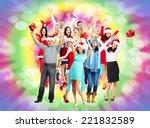 group of happy dancing people.... | Shutterstock . vector #221832589