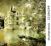 castle on  water -artwork in painting style - stock photo