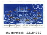 Old canceled german stamp with european union parlament - stock photo