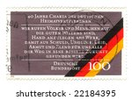 Old canceled german stamp with flag - stock photo