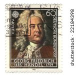 Old canceled german stamp with georg friederich handel - stock photo