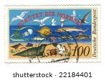 Old canceled german stamp with baltic sea animals - stock photo