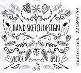 big set of sketches and line...   Shutterstock .eps vector #221849794