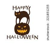 Happy Halloween Text With Cat ...