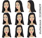 set of variation of emotions of ... | Shutterstock .eps vector #221858659