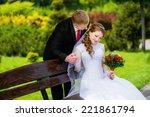 groom kisses the young bride in ... | Shutterstock . vector #221861794