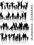 family silhouettes  | Shutterstock .eps vector #221864341