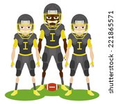three football players with... | Shutterstock .eps vector #221865571