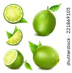 fresh limes with leaves.... | Shutterstock .eps vector #221869105