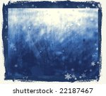 old winter glass with snowflakes - stock photo