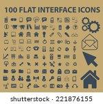 100 flat interface  office ... | Shutterstock .eps vector #221876155