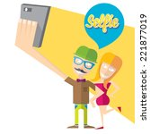 taking selfie photo on smart... | Shutterstock .eps vector #221877019