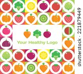colorful round fruits and... | Shutterstock .eps vector #221879449