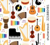 musical instruments seamless... | Shutterstock .eps vector #221880481