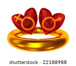 3d illustration of red heart symbols and sex signs - stock photo