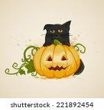 halloween background with... | Shutterstock . vector #221892454